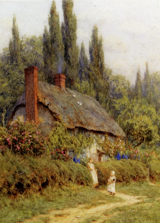 Allingham_Helen_Children_On_A_Path_Outside_A_Thatched_Cottage_West_Horsley_Surrey