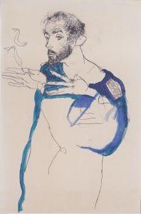 800px-Egon_Schiele_-_Gustav_Klimt_im_blauen_Malerkittel_-_1913