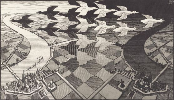 Dag en Nacht (1938), M.C. Escher © the M.C. Escher Company B.V. All rights reserved. www.mcescher.com