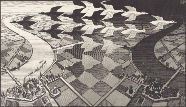 Dag en Nacht (1938), M.C. Escher © the M.C. Escher Company B.V. All rights reserved. www.mcescher.com