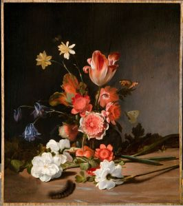 Medium-Dirck de Bray, Stilleven met een boeket in wording - Still life with a bouquet in the making, 1674, Mauritshuis, Den Haag