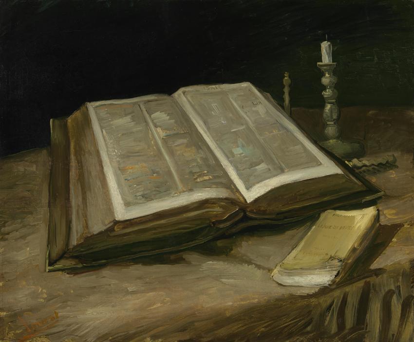 Stilleven met bijbel, Vincent van Gogh 1885, olieverf op doek, 65,7 x 78,5 cm. Van Gogh Museum, Amsterdam (Vincent van Gogh Stichting)