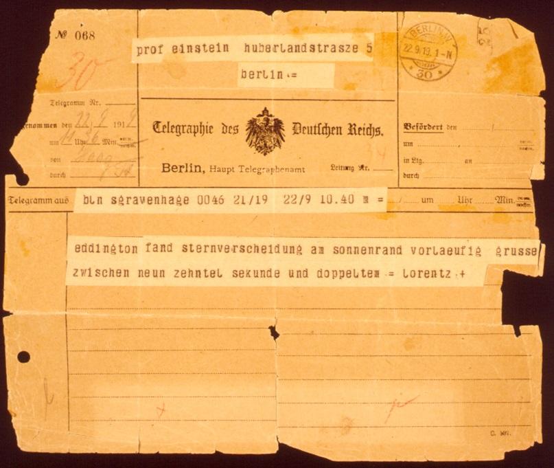Telegram van Hendrik Lorentz aan Albert Einstein, 22-09-1919